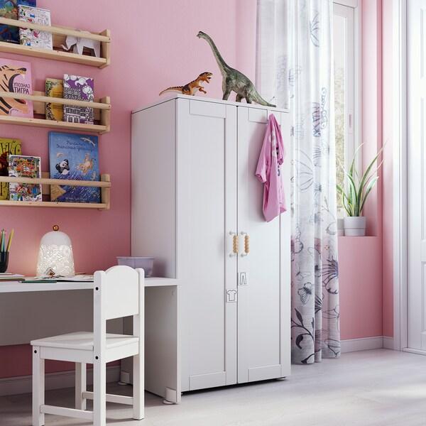 SMÅSTAD Armairua, zuria/markoduna, 60x42x123 cm