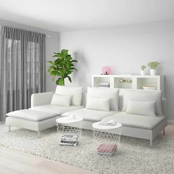 SÖDERHAMN 4 eserlekuko sofa, +chaiselongue-ak amaiera irekia/Finnsta zuria