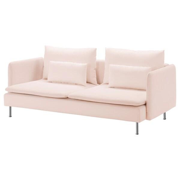 SÖDERHAMN 3 eserlekuko sofa Samsta argiguneargiarrosa 83 cm 69 cm 14 cm 6 cm