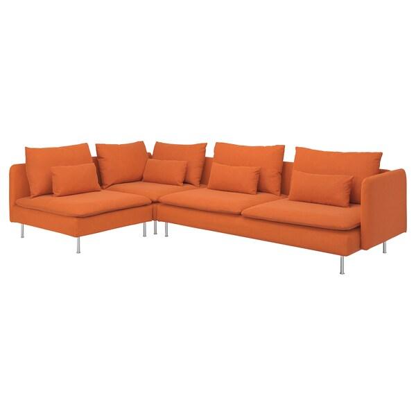 SÖDERHAMN izkinako 4 eserlekuko sofa +ertz irekia/Samsta laranja 83 cm 69 cm 14 cm