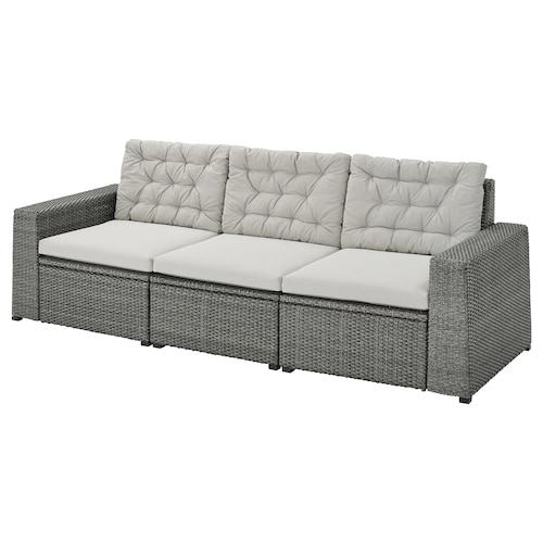 SOLLERÖN 3 eserl kanpo modulu-sofa gris iluna/Kuddarna grisa