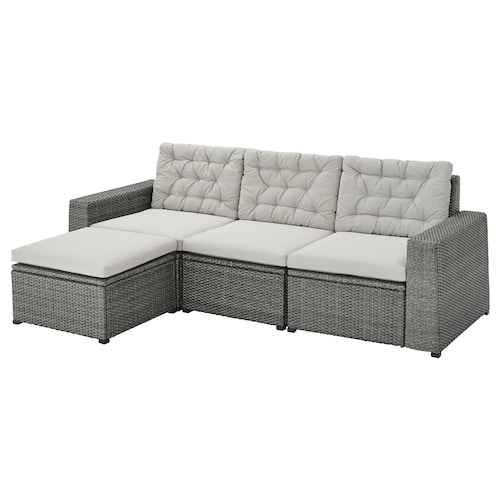 SOLLERÖN 3 eserl kanpo modulu-sofa +oin-euskarria gris iluna/Kuddarna grisa
