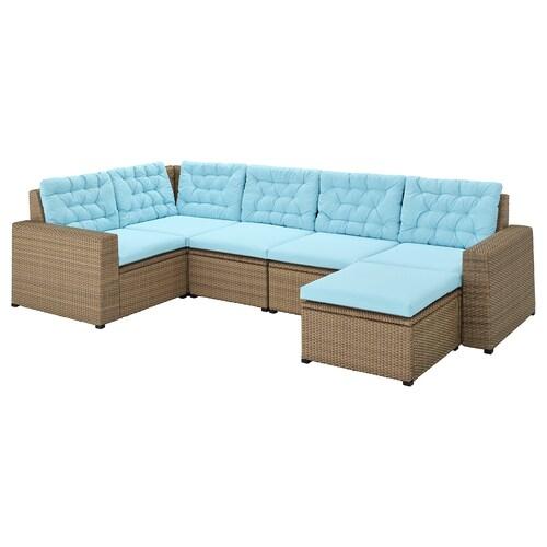 SOLLERÖN 4 eserl kanpo izkinako modulu-sofa +oin-euskarria marroia/Kuddarna argiguneargiurdina 2 cm 62 cm 62 cm