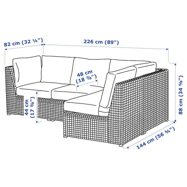 SOLLERÖN 3 eserl kanpo izkinako modulu-sofa, marroia/Frösön/Duvholmen beixa