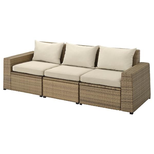 SOLLERÖN 3 eserl kanpo modulu-sofa, marroia/Hållö beixa, 223x82x82 cm