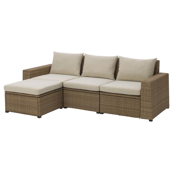 SOLLERÖN 3 eserl kanpo modulu-sofa, +oin-euskarria marroia/Hållö beixa, 223x144x82 cm