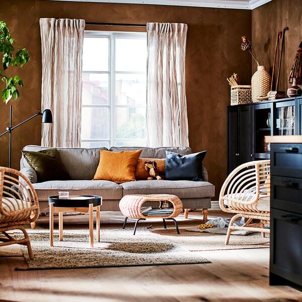 STOCKSUND 3 eserlekuko sofa, Nolhaga beix grisaxka/marroi argia/zura