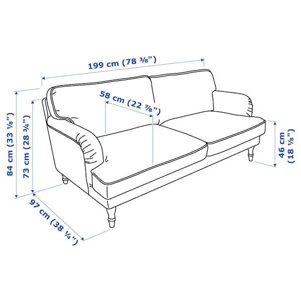 STOCKSUND 3 eserlekuko sofa Ljungen grisa/marroi argia/zura 84 cm 73 cm 13 cm