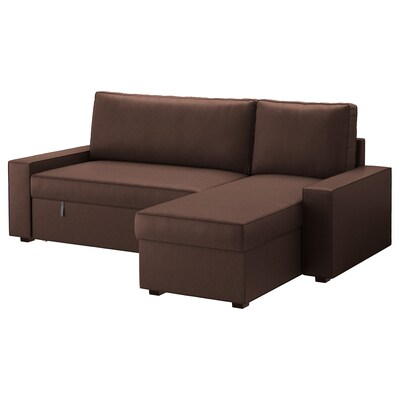VILASUND Ohe-sofa chaise longue-arekin, Borred marroi iluna