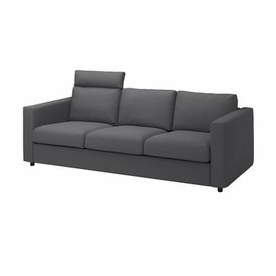 VIMLE 3 eserlekuko sofa, buru-euskarriekin/Hallarp grisa