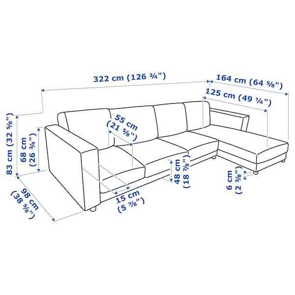 VIMLE 4 eserlekuko sofa +chaiselongue-ak/Orrsta beltza-urdina 83 cm 68 cm 164 cm 125 cm 6 cm 15 cm