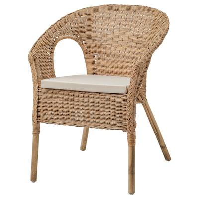 AGEN Cadeira de brazos con coxíns, ratán/Norna natural