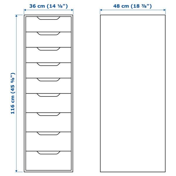 ALEX Cómoda con 9 caixóns, branco, 36x116 cm