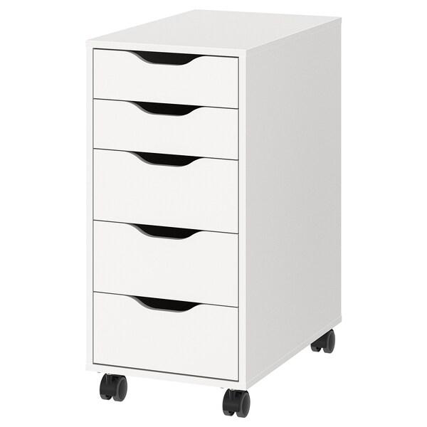 ALEX Moble de caixóns con rodas, branco/negro, 36x76 cm