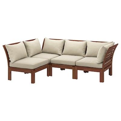 ÄPPLARÖ Sofá 3 esquina modular exter, tintura marrón/Hållö beixe, 143/223x80x78 cm