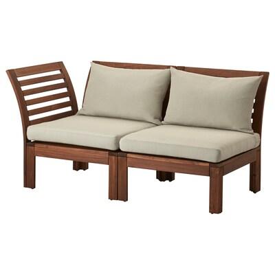 ÄPPLARÖ Sofá de xardín modular 2 prazas, marrón/Hållö beixe, 143x80x73 cm