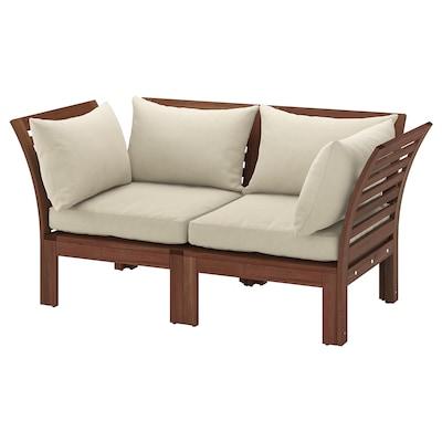 ÄPPLARÖ Sofá de xardín modular 2 prazas, tintura marrón/Hållö beixe, 160x80x78 cm