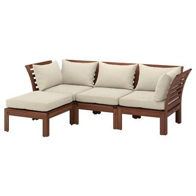 ÄPPLARÖ Sofá de xardín modular 3 prazas, +repousapés tintura marrón/Hållö beixe, 143/223x80x78 cm