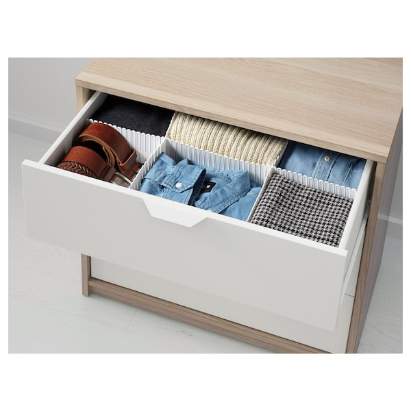 ASKVOLL Cómoda de 3 caixóns, efecto carballo tintura branca/branco, 70x68 cm
