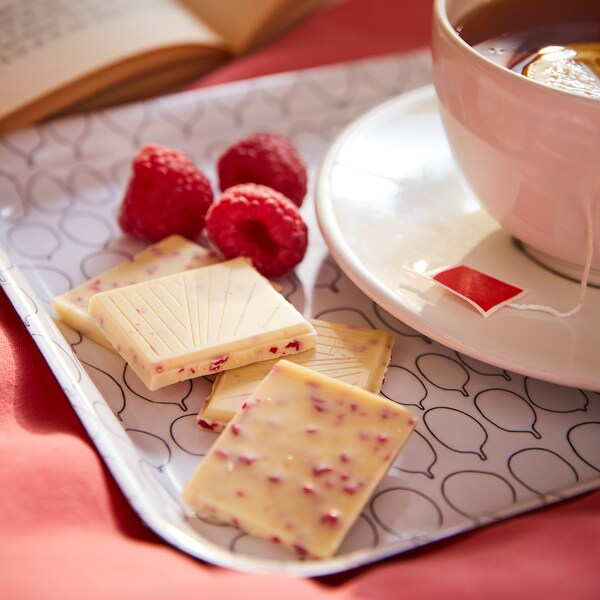 BELÖNING Tableta chocolate branco, framboesa certificado UTZ, 100 g