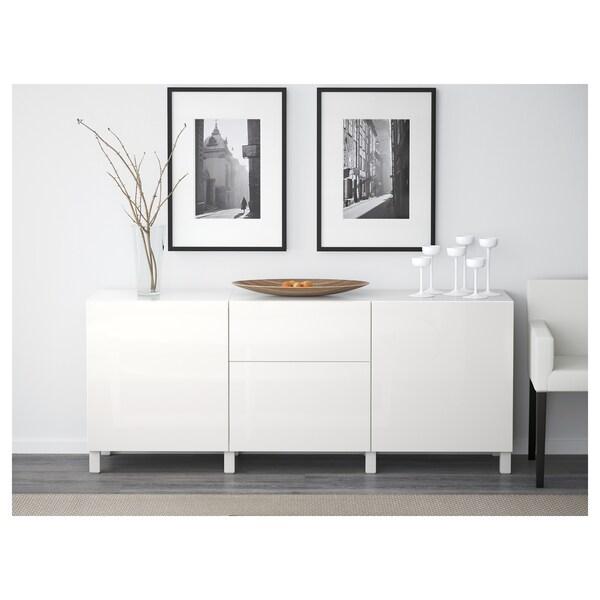 BESTÅ Almacenaxe con caixóns, branco/Selsviken/Stubbarp alto brillo/branco, 180x42x74 cm