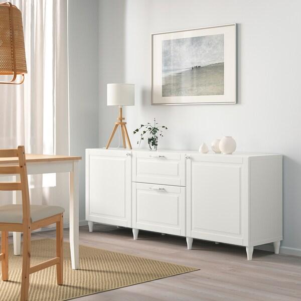 BESTÅ Almacenaxe con caixóns, branco/Smeviken/Kabbarp branco, 180x42x74 cm