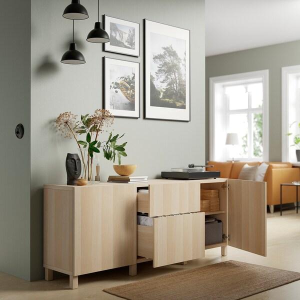 BESTÅ Almacenaxe con caixóns, efecto carballo tintura branca/Lappviken/Stubbarp efecto carballo tintura branca, 180x42x74 cm