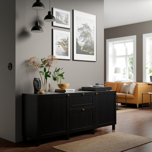 BESTÅ Almacenaxe con caixóns, negro-marrón/Hanviken/Stubbarp negro-marrón, 180x42x74 cm