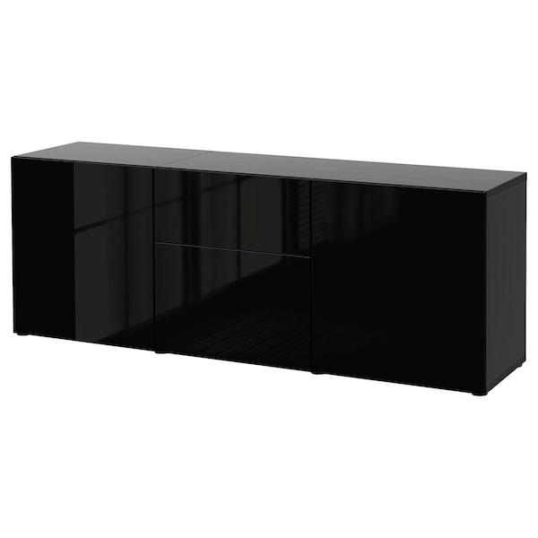 BESTÅ Almacenaxe con caixóns, negro-marrón/Selsviken alto brillo/negro, 180x42x65 cm