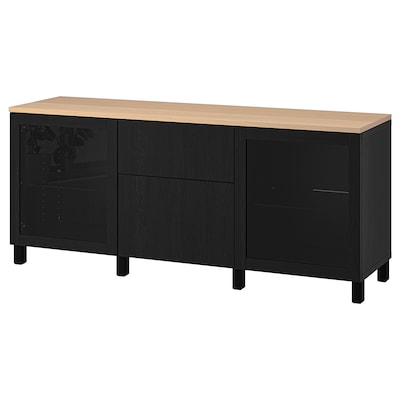BESTÅ Almacenaxe con caixóns, Sindvik negro/Lappviken/Stubbarp negro-marrón, 180x42x76 cm