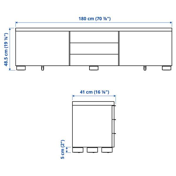 BESTÅ BURS Moble TV, alto brillo branco, 180x41x49 cm