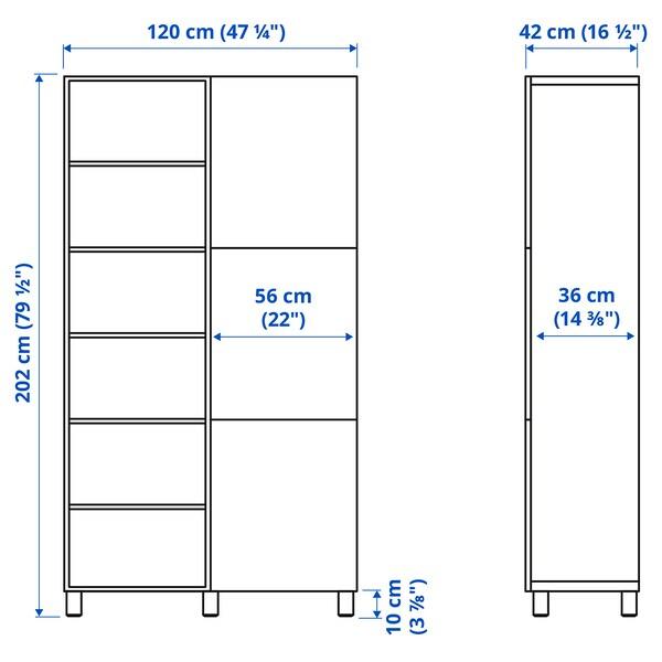 BESTÅ Moble salón, branco/Lappviken/Stubbarp branco, 120x42x202 cm