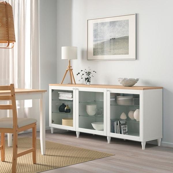 BESTÅ Moble salón, branco/Ostvik/Kabbarp vidro transparente branco, 180x42x76 cm