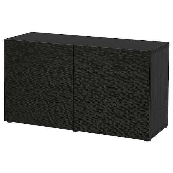 BESTÅ Moble salón, negro-marrón/Laxviken negro, 120x42x65 cm