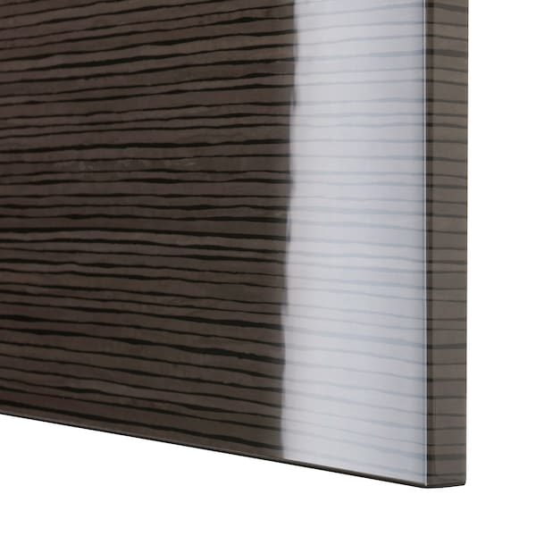 BESTÅ Moble salón, negro-marrón/Selsviken alto brillo/marrón, 120x42x65 cm