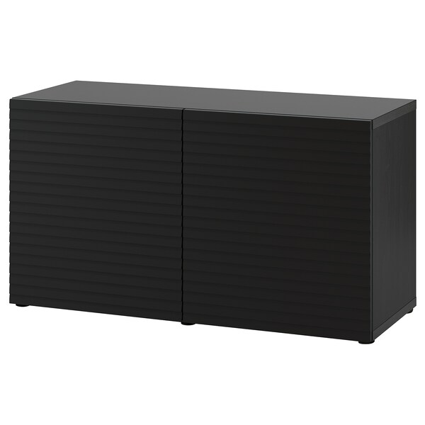 BESTÅ Moble salón, negro-marrón/Stockviken antracita, 120x42x65 cm