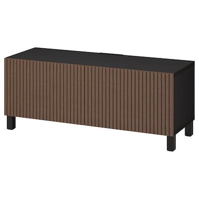 BESTÅ Moble TV con portas, negro-marrón Björköviken/Stubbarp/marrón chapa de carballo tinguida, 120x42x48 cm
