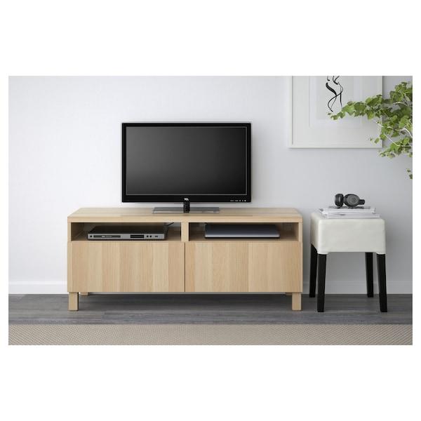 BESTÅ Moble TV, efecto carballo tintura branca/Lappviken/Stubbarp efecto carballo tintura branca, 120x42x48 cm
