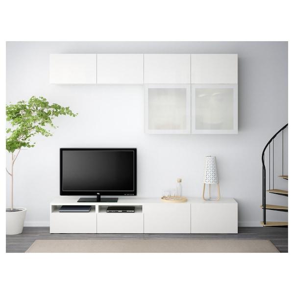 BESTÅ Moble TV portas vidro, branco/Selsviken alto brillo/vidroesmerilbr, 240x40x230 cm