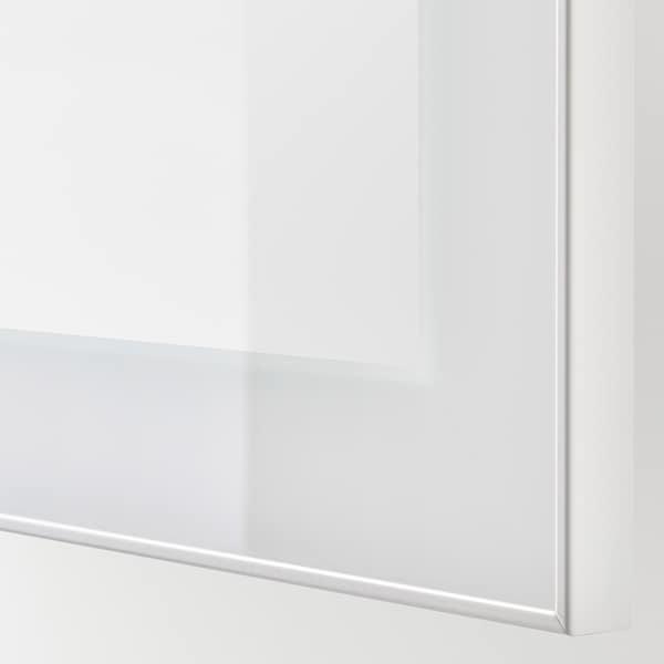 BESTÅ Moble TV portas vidro, efecto carballo tintura branca/Selsviken alto brillo/vidrotranspbranco, 240x42x129 cm