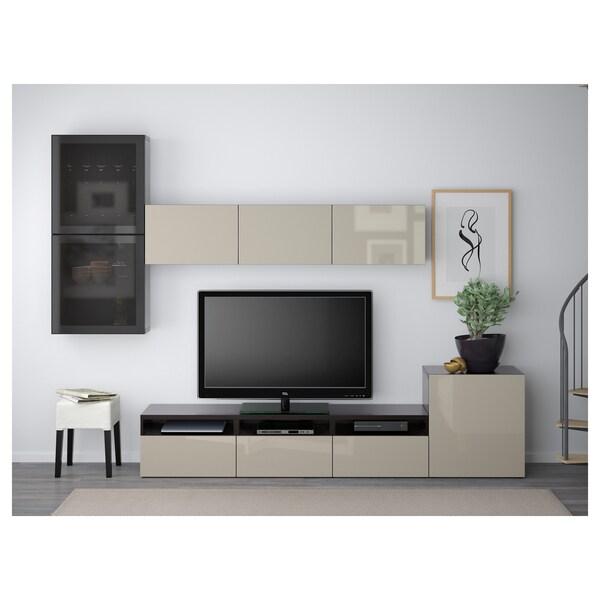 BESTÅ Moble TV portas vidro, negro-marrón/Selsviken altobrill/vidro afumado beixe, 300x42x211 cm