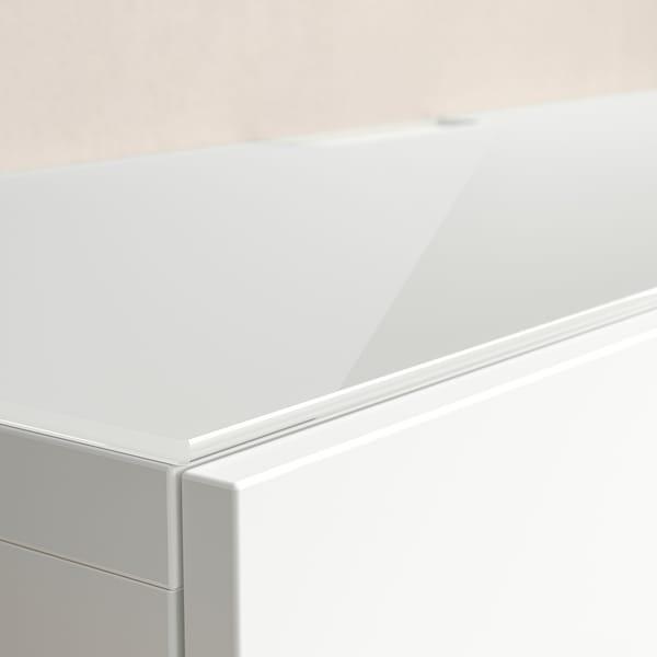 BESTÅ Panel superior, vidro branco, 120x40 cm