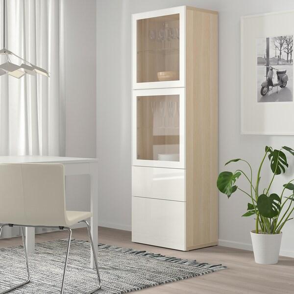 BESTÅ Vitrina, efecto carballo tintura branca/Selsviken alto brillo/vidrotranspbranco, 60x42x193 cm
