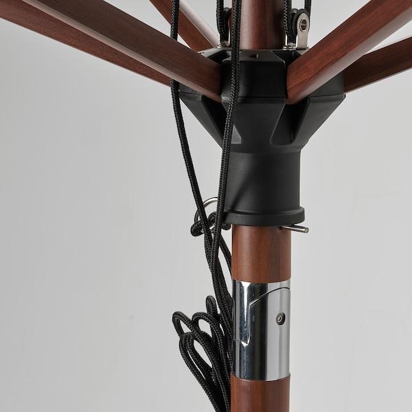 BETSÖ / LINDÖJA Parasol, marrón efecto madeira/beixe, 300 cm