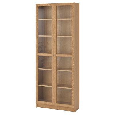 BILLY / OXBERG Libraría, chapa carballo, 80x30x202 cm