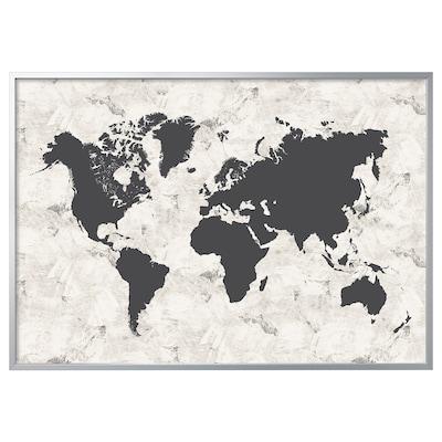 BJÖRKSTA Imaxe+marco, mapamundi branco e negro/cor de aluminio, 200x140 cm