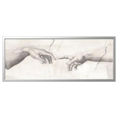 BJÖRKSTA Imaxe+marco, Tacto/cor de aluminio, 140x56 cm