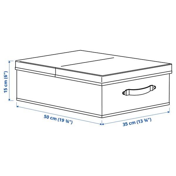 BLÄDDRARE Caixa con tapa, gris/con deseño, 35x50x15 cm