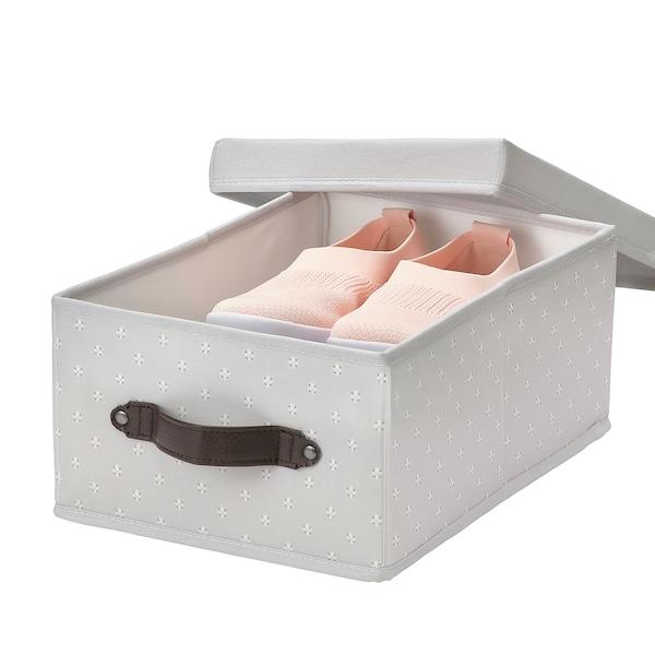 BLÄDDRARE Caixa con tapa, gris/con deseño, 25x35x15 cm