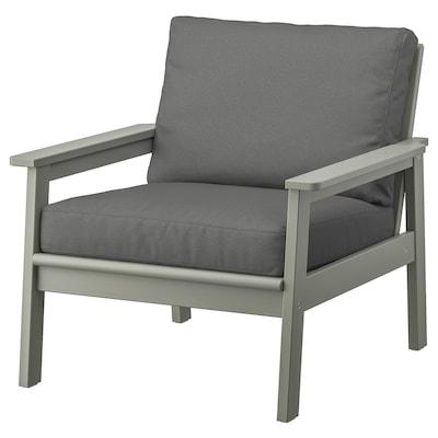 BONDHOLMEN Cadeira de brazos de xardín, tintura gris/Frösön/Duvholmen gris escuro